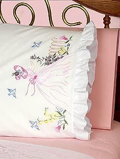 Fairway Needlecraft 82511 Vintage Ruffled Edge Pillowcases, Butterfly Lady Design, Standard, White
