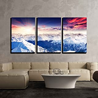 wall26 - 3 Piece Canvas Wall Art - Fantastic Evening Winter Landscape. Colorful Overcast Sky. Austria, Europe. Beauty World - Modern Home Decor Stretched and Framed Ready to Hang - 16