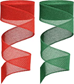 2 Rolls Faux Burlap Ribbon Christmas Burlap Ribbon Rolls for DIY Craft Gift Wrap Decor (1.5 Inches by 394 Inches, Red and ...