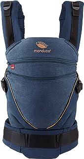 manduca Babytrage XT All-In-One/Cotton denim-blue/Babytrage für Neugeborene mit verstellbarem Steg, Bio-Baumwolle, mitwachsend für Babys & Kinder von 3,5 bis 20kg jeans-blau/toffee