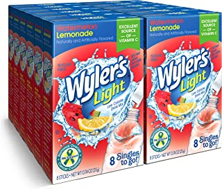 Wyler's Light Singles To Go Powder Packets, Water Drink Mix, Watermelon Lemonade, 96 Servings, 8 Count x Pack of 12