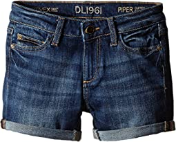 DL1961 Kids - Piper Unstitched Cuffed Jean Shorts in Sea Lion (Big Kids)