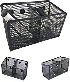 Magnetic Pencil Holder - Magnetic Marker Holder - Storage Basket for Office Pens, Whiteboard Markers, School Locker and Cubicle Accessories - Pen Cup and Caddy - 2 Compartments with 6 Strong Magnets