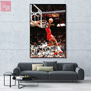 GoGoArt ROLL Canvas print wall art home picture photo big poster abstract modern (no framed no stretched not oil painting) Michael Jordan nba sport Chicago bulls dunk A-0029-1.5 (24 x 36 (inches))