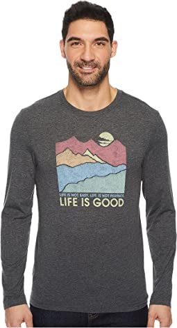 Life is Good Easy Perfect Good Mountains Long Sleeve Cool Tee