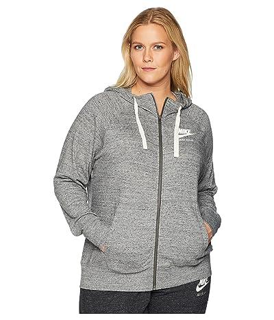 Nike Plus Size Gym Vintage Full Zip Extended Hoodie (Carbon Heather/Sail) Women