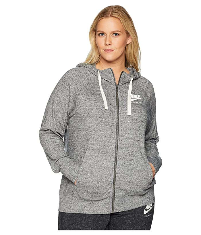 Nike Plus Size Gym Vintage Full Zip Extended Hoodie (Carbon Heather/Sail) Women