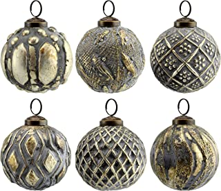 AuldHome Farmhouse Ball Ornaments (Set of 6); Distressed Metal Glass Ball Vintage Style Christmas Decorations
