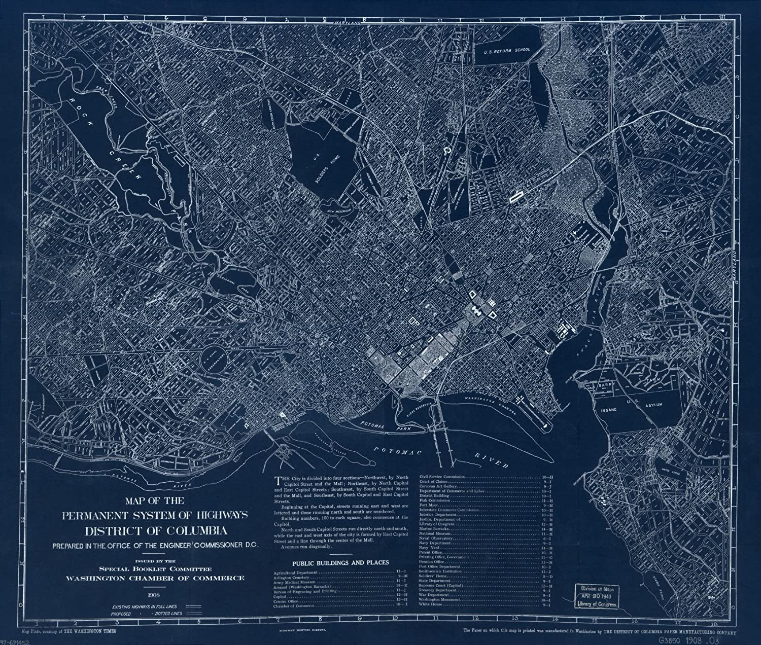Vintography 18 unisex x 24 Low price Blueprint Style 1908Map Reproduced Map T Old