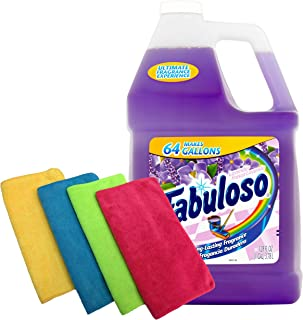 Fabuloso Makes 64 Gallons Lavender Purple Liquid Multi-Purpose Professional Household Non Toxic Fabolous Hardwood Floor Cleaner Refill + 4 UBEN Microfiber 12 X 12 Cleaning Cloths - Colors May Vary