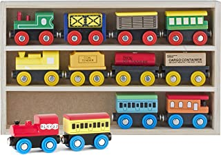 Play22 Wooden Train Set 12 PCS – Train Toys Magnetic Set Includes 3 Engines –..