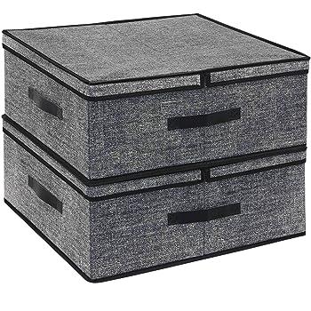 homyfort Contenedor Plegable para Guardar Ropa, Caja de Almacenaje para Juguetes con Funda Extraíble, 50x42x20 cm, Negro Lino, XALB50P2: Amazon.es: Hogar