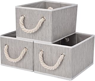 StorageWorks Decorative Storage Bins, Bathroom Storage Baskets with Cotton Rope Handles, Mixing of Gray, Brown & Beige, 3-Pack, Medium