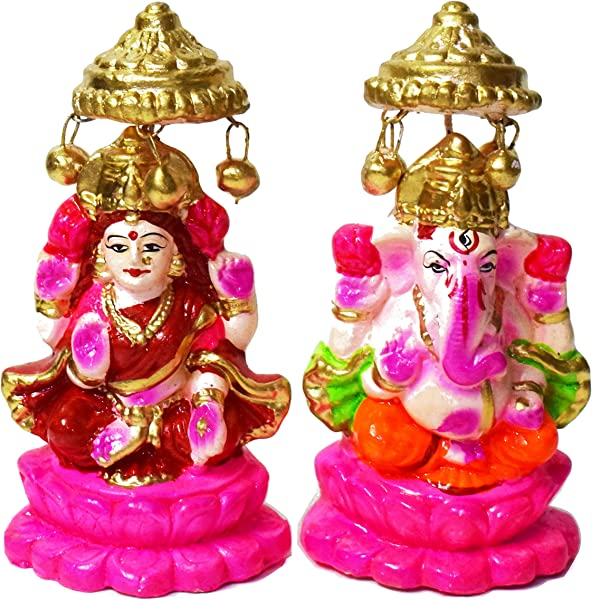 5 Beautiful Pair Of Lord Ganesha And Lakshmi Clay Statue For Diwali Deepawali Pooja Puja Laxmi Ganesh Idol Deewali Indian Gift Items