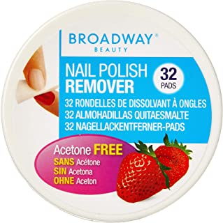 BROADWAY Nail Polish Remover Pads, Strawberry Scented 36B, Pack of 32