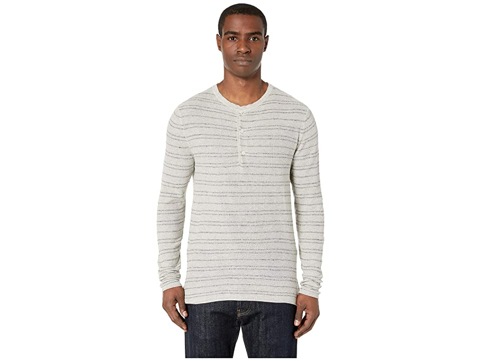 Image of Billy Reid Striped Henley (Natural/Grey) Men's Clothing