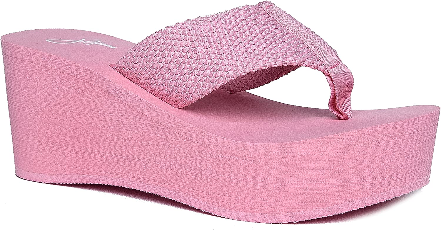 J. Adams High Platform Foam Sandal - Trendy Wedge Flip Flop - Comfortable Everyday Thong Heel - Wave