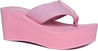 High Platform Foam Sandal - Trendy Wedge Flip Flop - Comfortable Everyday Thong Heel - Wave