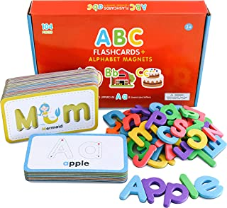 Curious Columbus Flashcards And Foam Letter Set. 26 Alphabet Flash Cards With 78 Magnetic Letters. Abc Toddler Games To Le...