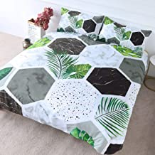 BlessLiving Modern Terrazzo Bedding Hexagon Marble Duvet Cover 3 Pieces Green Palm Leaves Bedspread Geometric Bed Set (Twin)