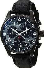 Alpina Men's Startimer Stainless Steel Swiss-Quartz Watch with Leather Strap, Black, 26 (Model: AL-372BMLY4FBS6)