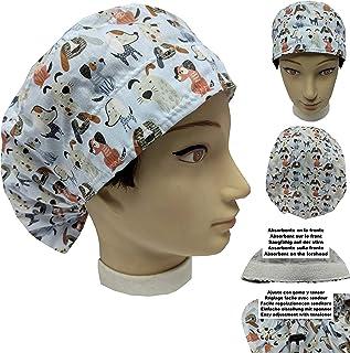 Cappello sala operatoria donna PICCOLI CUCCIOLI per Capelli Lunghi Asciugamano assorbente sulla fronte facilmente regolabi...
