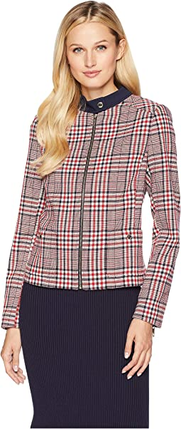 Plaid Zip Front Jacket