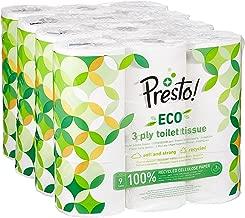 Marca Amazon - Presto! Papel higiénico de 3 capas ECO - 36 (4x9) rollos (200 hojas x rollo)