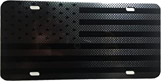 CustoMonsterDesigns American Flag Made with Max Stealth Tactical Gun Metal Black Vinyl Sticker on a 1/8'' Acrylic License Plate S10