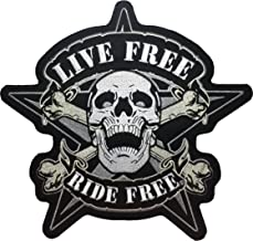 [Large Size] Papapatch Live Freedom Ride Freedom Skull Star Cross Bone Biker Rider Motorcycle Chopper Jacket Vest Costume Sewing on Iron on Embroidered Applique Patch(IRON-RIDE-FREE-SKULL-CROS-LARGE)