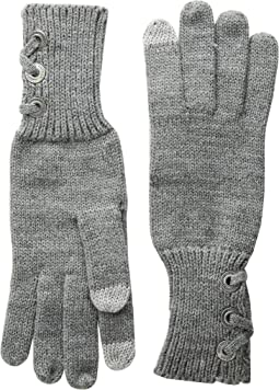 Lace-Up Touch Gloves with Metal Grommets