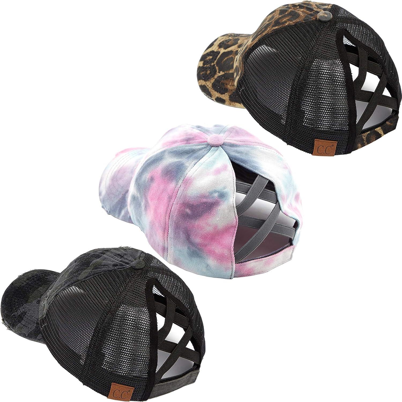 Large-scale sale Ponycap Bundle: Criss Cheap mail order sales Cross Jet Black Tie Dye Leopard Camo Blu
