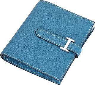 Skyou 財布 二つ折り財布 レディース 牛革 ウォレット 財布 手作り シルバー金具