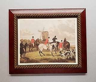 TheShoppe-USA The Meet - English Fox Hunt Scene Picture - Beagle Horses Bugles Creek - Cherry Frame