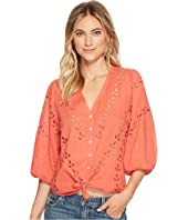 Lucky Brand Eyelet Peasant Blouse