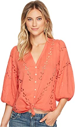 Lucky Brand - Eyelet Peasant Blouse