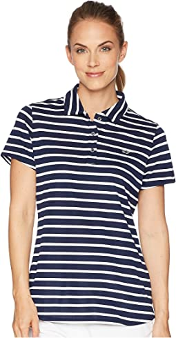 Short Sleeve Striped Pique Polo