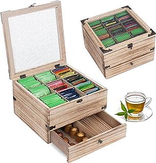 QILICZ Boîte à thé en bois avec 9 compartiments et un tiroir - Boîte de rangement pour sachets de thé - 25 x 25 x 15 cm - ...