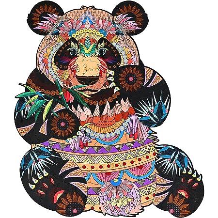 GOLDGE 200PCS Puzzles en Bois pour Adultes et Enfants, A4 Pièces de Puzzle de Forme Unique, Puzzles Animaux Colorés Panda, Jeux éducatifs Anti-Pression Collection De Jeux Familiaux
