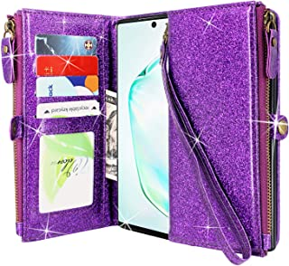 Lacass Premium Leather Flip Zipper Wallet Case Cover Stand Feature with Card Holder and Wrist Strap for Samsung Galaxy Note 10+Plus/Note 10 Plus 5G (Glitter Purple)