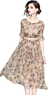 Women's Summer Round Neck Floral Print Dress Casual A-line and Flare Dress