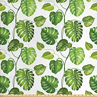 Lunarable Leaf Fabric by The Yard, Tropical Jungle Rainforest Leaves Palm Mango Tree Wild Leaves Art Print, Decorative Fabric for Upholstery and Home Accents, 2 Yards, Green White