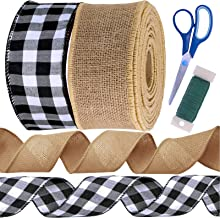 24 Yards Black and White Buffalo Plaid Check Wired Ribbon Gingham Ribbon and Nature Jute Burlap Wired Fabric Ribbon Gift W...