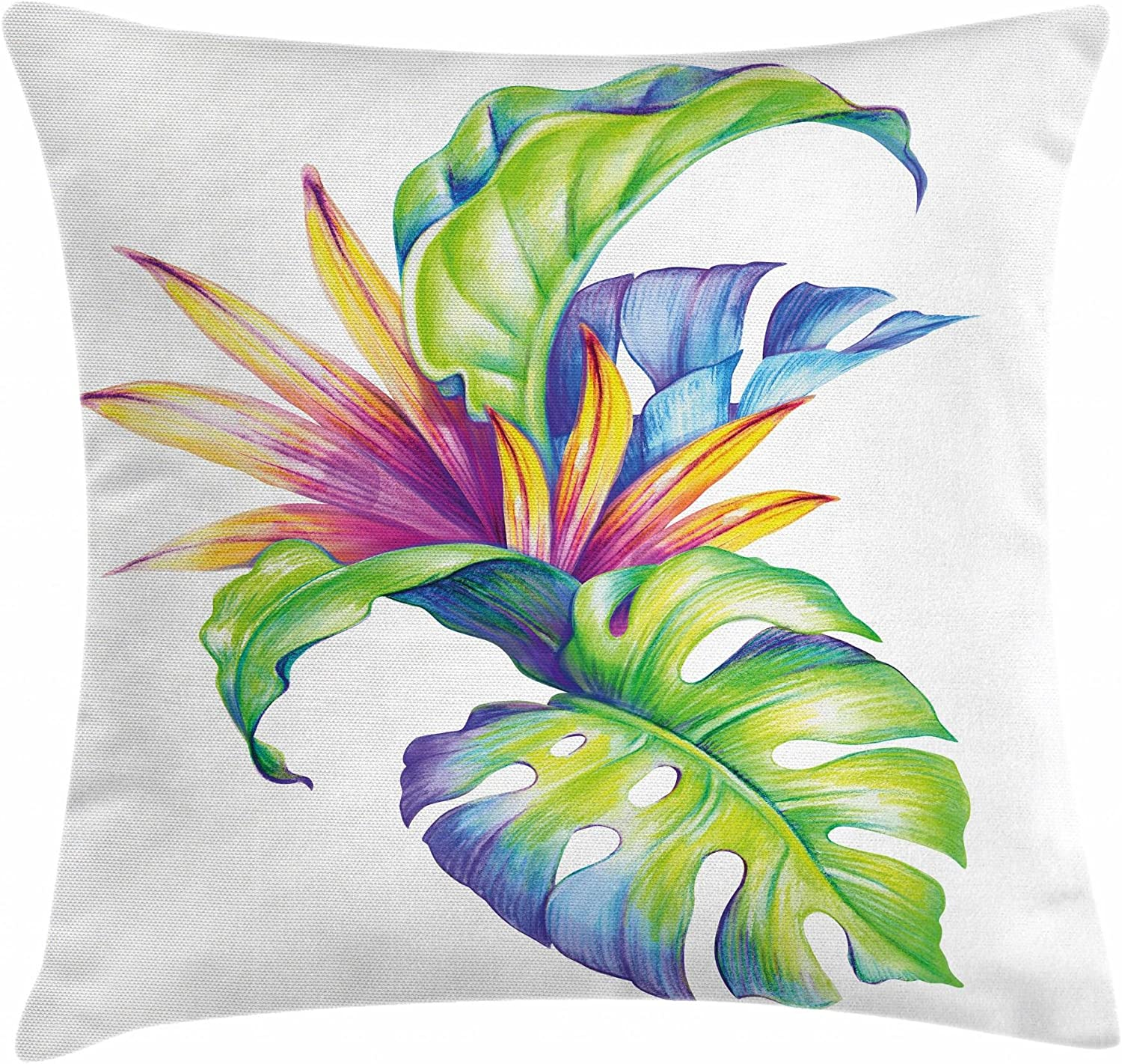Ambesonne Plant Throw Pillow Cushion Cover, Tropical Leaves and Monstera with Abstract Color Scheme Hawaiian Floral Elements, Decorative Square Accent Pillow Case, 20