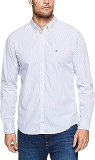 TOMMY HILFIGER Men's Fresh Vertical Stripe Long Sleeve Shirt, Mazarine Blue/Bright White