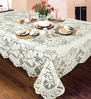 American Collection Bone Lace Emilia Tablecloth Machine Washable Ideal For Formal Dinner Parties (60