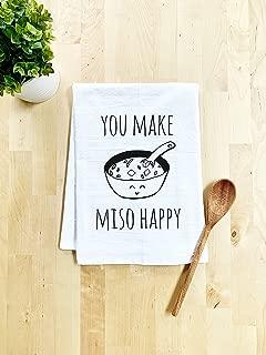 Funny Dish Towel, You Make Miso Happy, Flour Sack Kitchen Towel, Sweet Housewarming Gift, Farmhouse Kitchen Decor, White