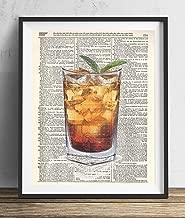 Cocktail Recipe Retro Vintage Pina Colada Framed Canvas Art Print Poster