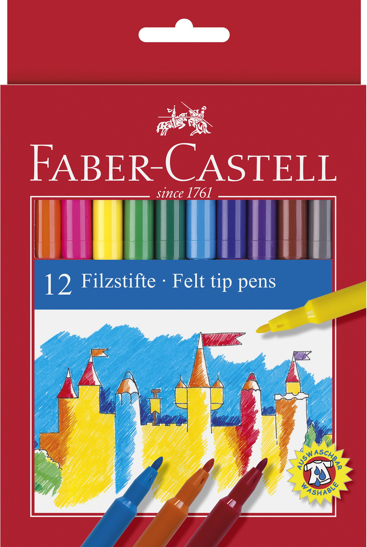 Faber Castell 554212 - Estuche de cartón con 12 rotuladores escolares, punta de fibra, multicolor: Amazon.es: Oficina y papelería