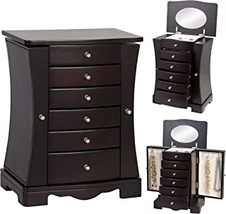 Best Choice Products Handcrafted Wooden Jewelry Box Organizer Wood Armoire Cabinet Storage Chest - Dark Brown